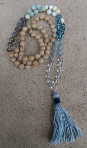 Intention Line Breathe 8mm Crystal, Agate, Shell, Sandalwood Traditional Knotted 108 Meditation Mala Necklace Throat Chakra Yoga Jewelry
