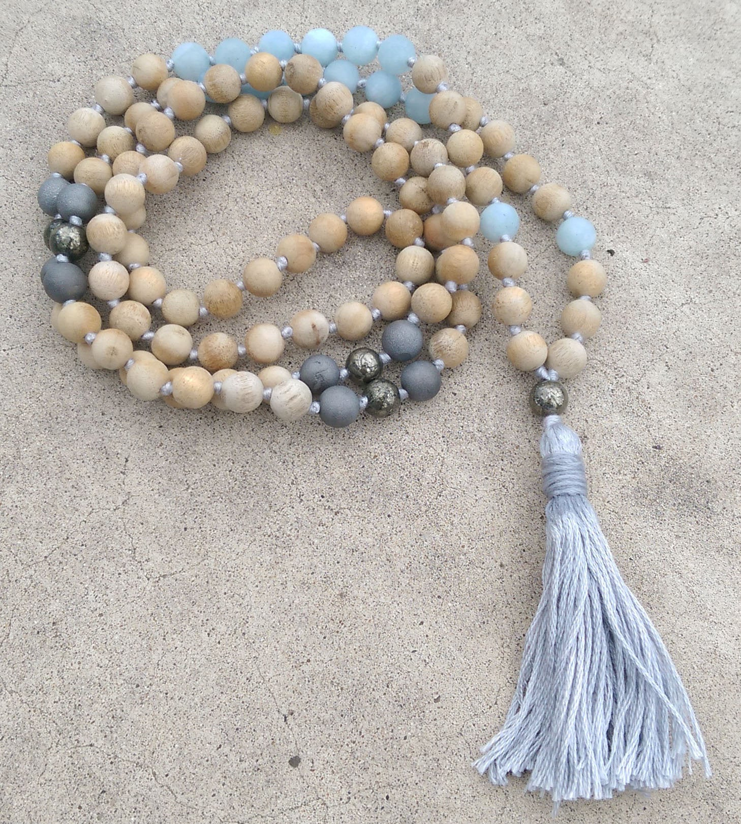 Eco Collection 8mm Sandalwood Matte aquamarine Pyrite Agate Traditional Cotton Knotted 108 Meditation Mala Necklace Chakra Yoga Jewelry