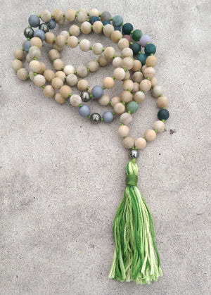 Eco Collection 8mm Sandalwood Matte Indian Agate Pyrite Druzy Agate Traditional Cotton Knotted 108 Meditation Mala Necklace Chakra Yoga