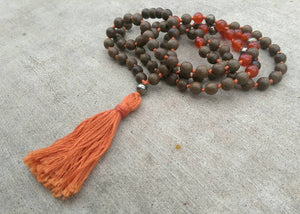 Eco Collection 8mm Sandalwood Carnelian Pyrite Traditional Cotton Knotted 108 Meditation Mala Necklace Chakra Yoga Modern Organic Jewelry