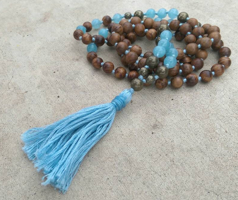 Eco Collection 8mm Pear Wood Aquamarine Pyrite Traditional Cotton Knotted 108 Meditation Mala Necklace Chakra Yoga Modern Organic Jewelry