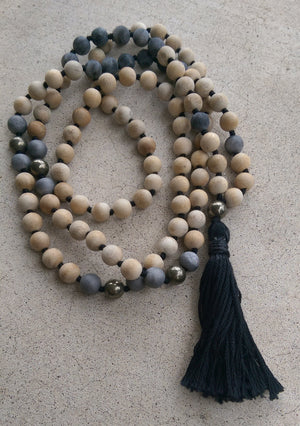 Eco Collection 8mm Sandalwood Matte Labradorite Pyrite Agate Traditional Cotton Knotted 108 Meditation Mala Necklace Chakra Yoga Jewelry