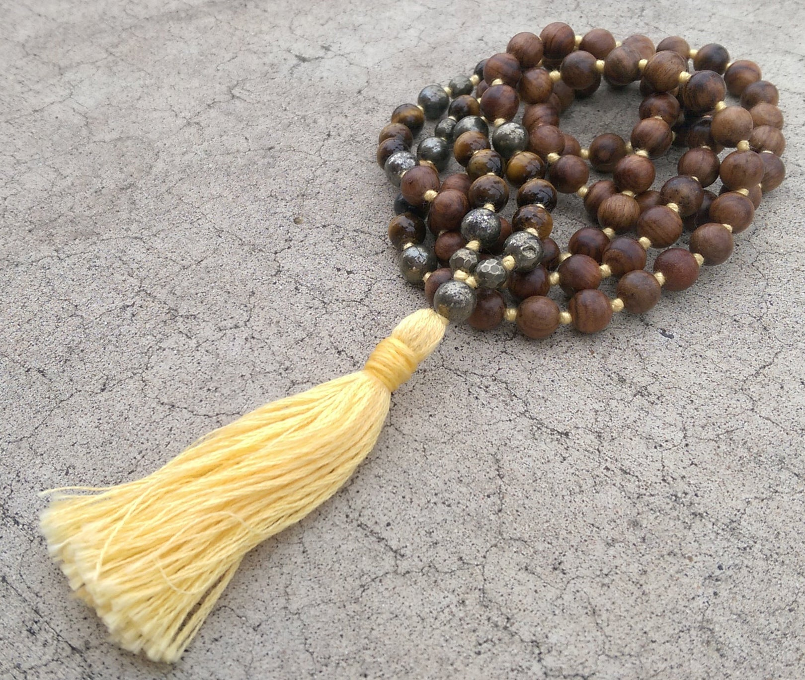 Eco Collection 8mm Pear Wood Tiger Eye Pyrite Traditional Cotton Knotted 108 Meditation Mala Necklace Chakra Yoga Modern Organic Jewelry