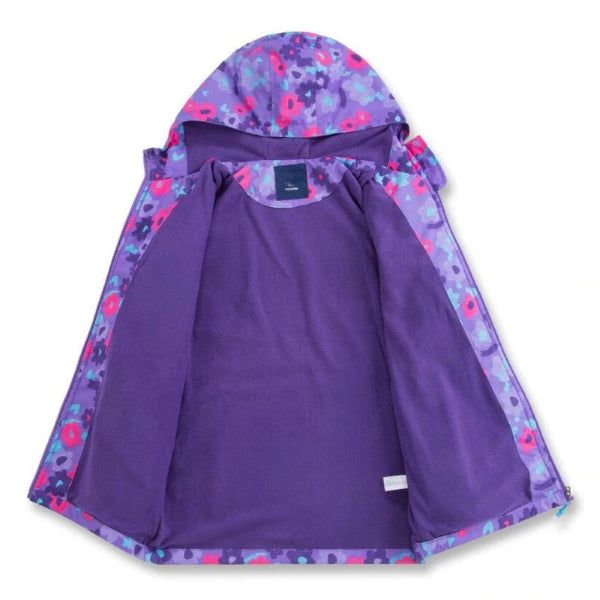 Fleece-lined hooded windbreaker jacket