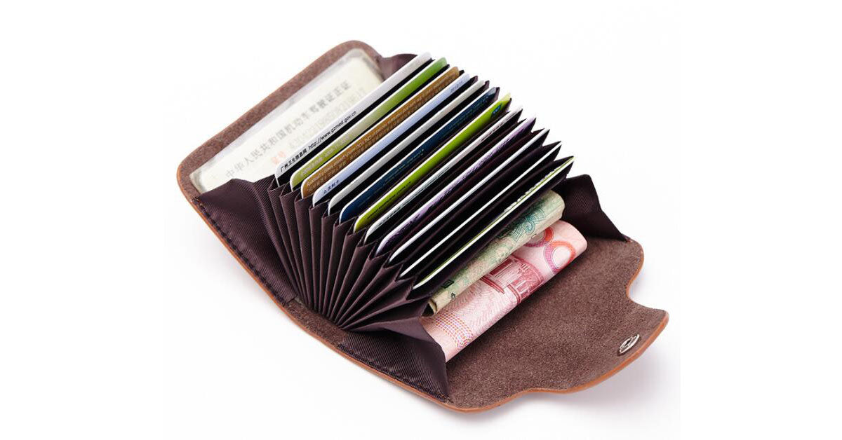 Multi Card Real Leather Accordion Card Bag