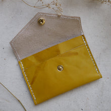 yellow leather purse, tie dye leather purse, handmade leather purse