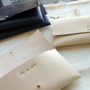 personalised clutch, bridesmaid present leather bag. tori lo designs