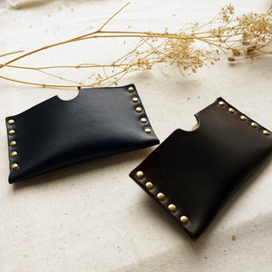 Leather card holder, riveted leather card holder