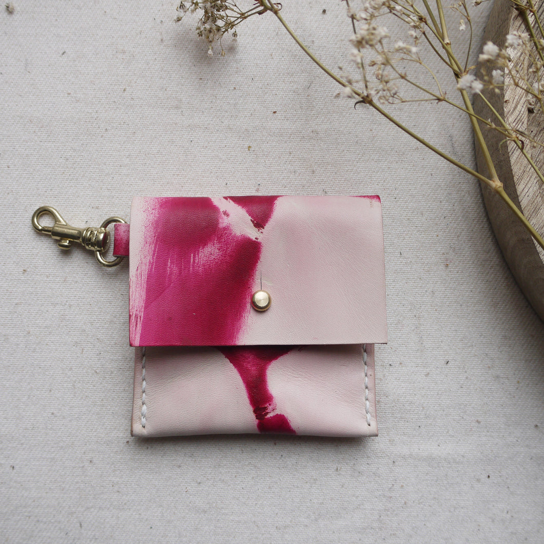 SOPHIE - Tie die leather keyring coin purse