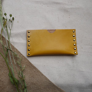 Yellow Leather card holder, riveted leather card holder