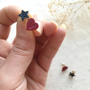 RUBZ III -  Personalised Large Leather Heart and Star Earrings