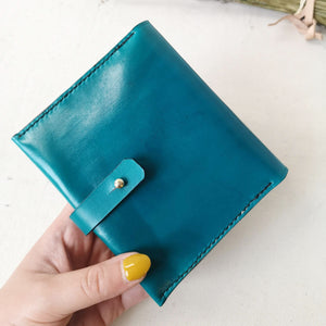 teal leather bifold purse, teal leather wallet