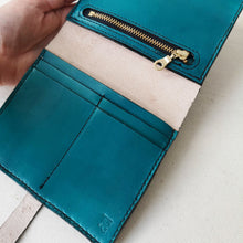 teal leather bi fold purse, teal leather wallet
