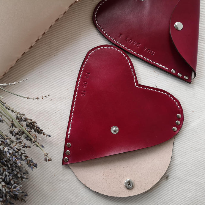 leather heart purse, leather anniversary gift