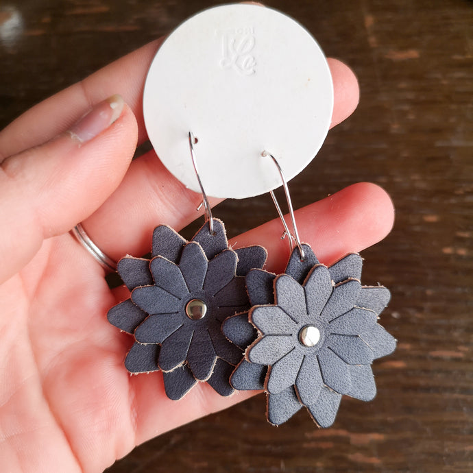 Leather Flower Drop Earrings