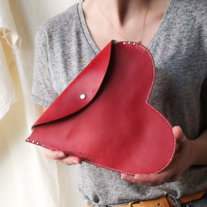 Harper - Heart Leather Clutch Bag