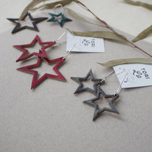 Leather Star Drop Earrings