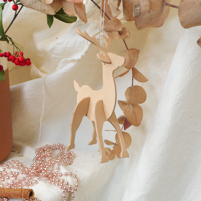 Rudi - Personalised Leather Reindeer Christmas Bauble Decoration