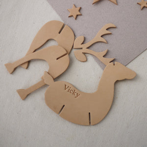 Personalised Leather Reindeer Christmas Decoration