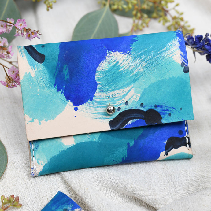 ROUG - Blue Brush - Leather Coin and Card Purse