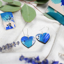 Libby - Blue Brush - Heart Drop Earrings