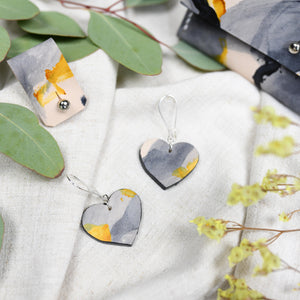 Libby - Slate Brush - Heart Drop Earrings