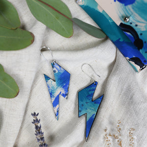 Bolt - Blue Brush - Lightning Bolt Drop Earrings