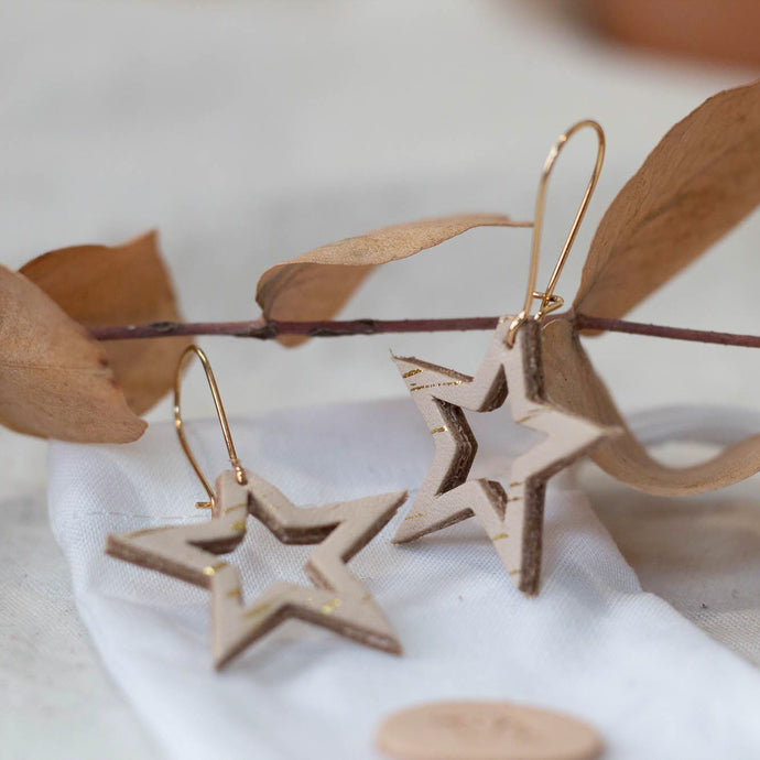 Starre - Gold Spark - Small Cut out Star Drop Earrings