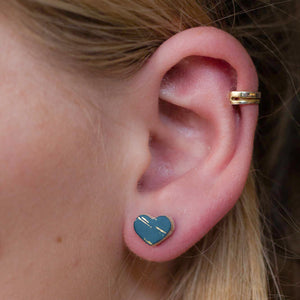 Libby - Gold Spark - Small Heart Stud Earrings