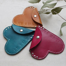 personalised leather heart purse
