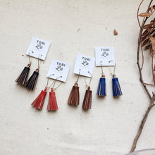 TREY - Leather Tassel Earrings