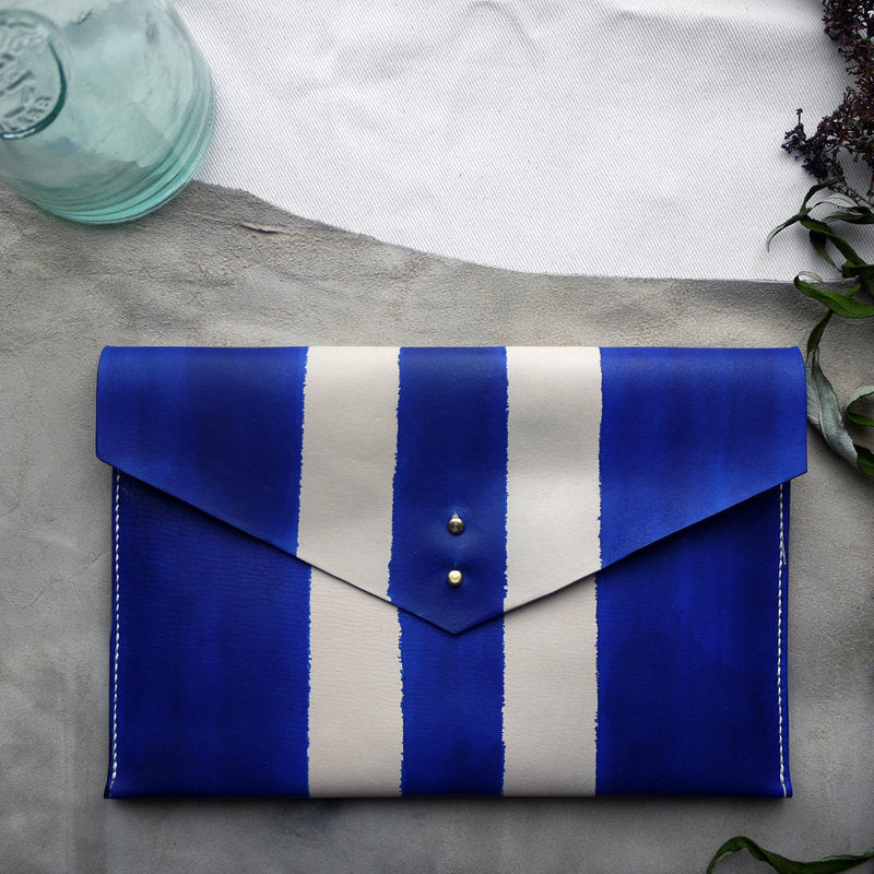 TYDE - Thin stripe leather clutch
