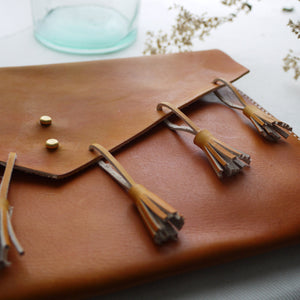 NINA - Leather Fringe Clutch