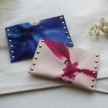 tie dye leather card wallet, leather card purse