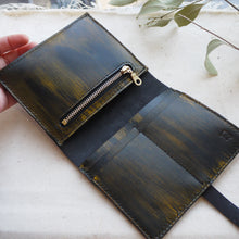 ombre leather purse, handed leather purse, hand stitched leather purse