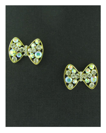 Rhinestones bow earrings