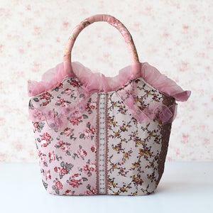 Floral Pattern Fabric Bags with Lace Hems Handbag for Ladies
