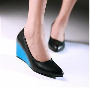 Color Blocks Pointed Toe Women's Wedges