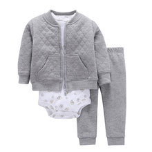 Ribbed Cuffs Crewneck Baby Rompers Outfit Striped Printed Long Sleeve Toddler Suit 3pcs/set
