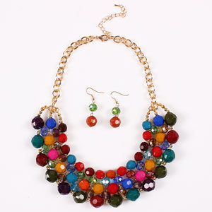 Necklace With A Bohemian Necklace Set With Colorful Round Beads