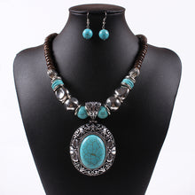 Hot Style European And American Brands Of Antique Silver Natural Coconut Shell Turquoise Necklace Set Chain