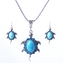 Hot Sell The European And American Brands Vintage Turquoise And Lovely Little Turtle Diamond Jewelry Set Necklace Earrings