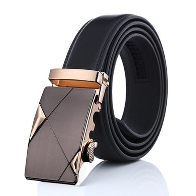 Black/Brown Band Casual Business Rectanle Alloy Buckle Belts With Multiple Length Options