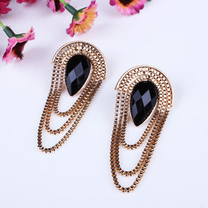 Retro Fashion Resin On Top Ancient Golden Color Earrings