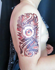 3D Large Halloween Horrible Skull Red Eye Terrible Arm Pattern Men Arm Shoulder Temporary Fake Tattoo Stickers