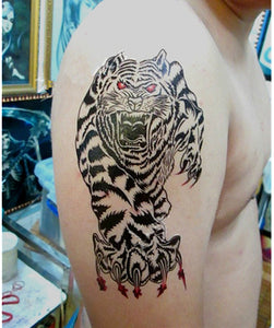 Cool Tiger King Waterproof Temporary Tattoo Men Body Arm Tattoo Shoulder Chest Sticker PGF530 Black Tattoo Totem Sticker Women