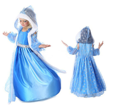Frozen Inspired Elsa Costume Dress Girl Cosplay Party
