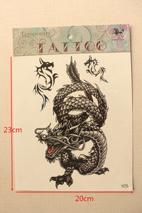 1PC Black Tai Chi Designs Flash Water Transfer Temporary Tattoo Stickers Taty Tatouage Fake Body Arm Tattoo Dragon