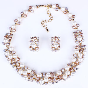 Hot Sale Network Hot Style Imitation Pearl Necklace Set Bridal Jewelry Set Decoration