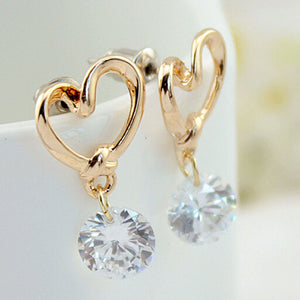 New Fashion Stud Jewelry Hot Sale Hollow Love Heart Fine Zircon Earrings For Woman Accessories Best Gift